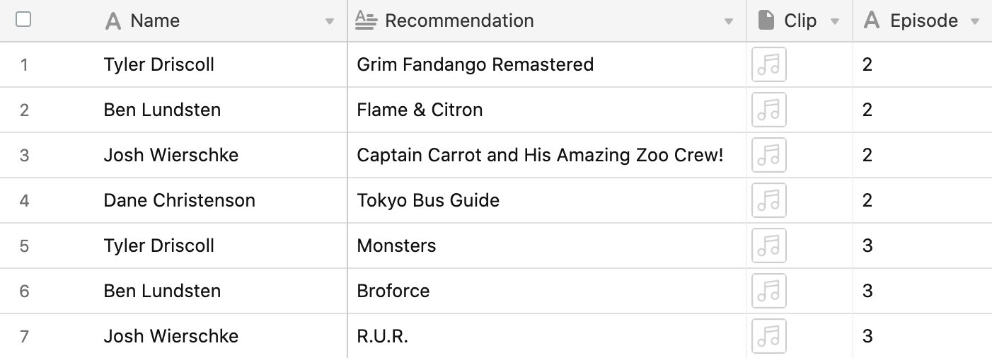 Podcast recommendations in Airtable.