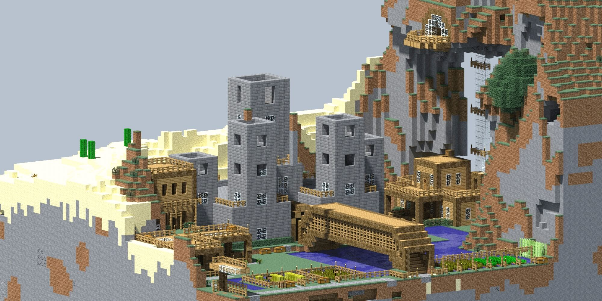 A render of a Minecraft castle.