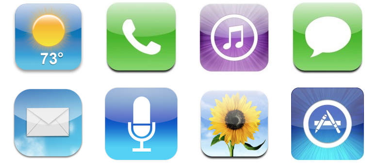 Screenshot of iOS app icons with highlights