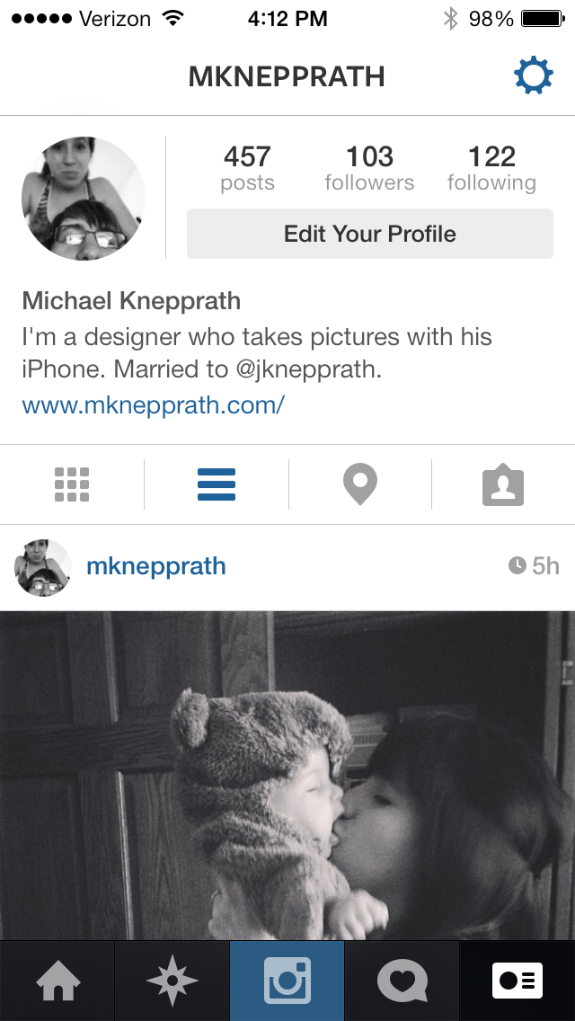 Screenshot of Instagram's redesign for iOS 7